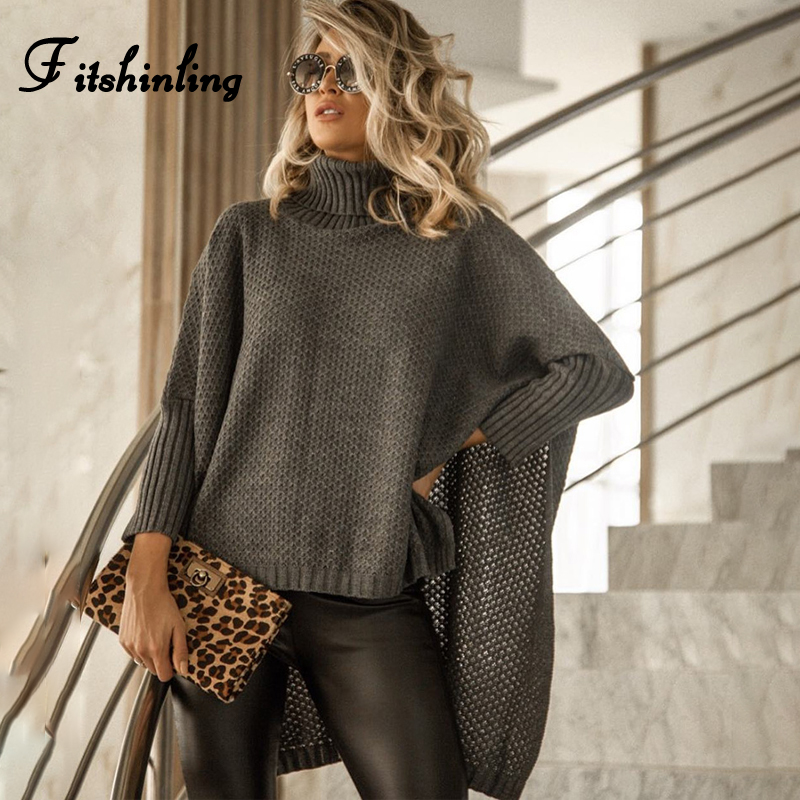 Fitshinling Oversize Women's Turtleneck Cloak Sweaters 9 Colors Batwing Sleeve Jumper Knitted Ladies Sweater Korean Pull Femme