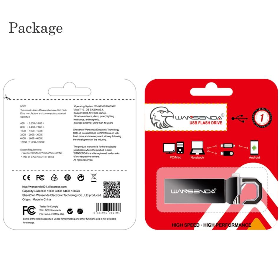 Image 5 - WANSENDA Keychain USB Flash Drive 64GB Metal Pen Drive 32GB 16GB 8GB 4GB Pendrive Waterproof USB 2.0 Memory Stick Flash Drive-in USB Flash Drives from Computer & Office