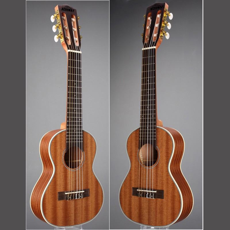 Acouway 28 inch Guitar ukulele Guitalele Guitarlele Travel guitar Guilele guitarlili  6 Strings 18 Frets Classical Knob Sapele savarez 510 cantiga series alliance cantiga ht classical guitar strings full set 510aj