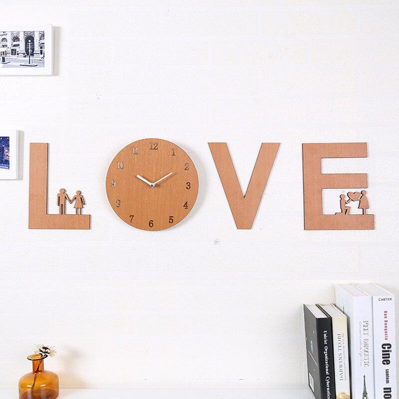 Horloge d'amour moderne minimaliste européenne créative muet salon horloge murale art mural horloge ronde personnalité décor à la maison