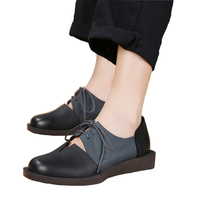 2018 Spring Summer Women Shoes Flats Genuine Leather Round Toes Lace up Mixed Color Handmade Retro Shoes