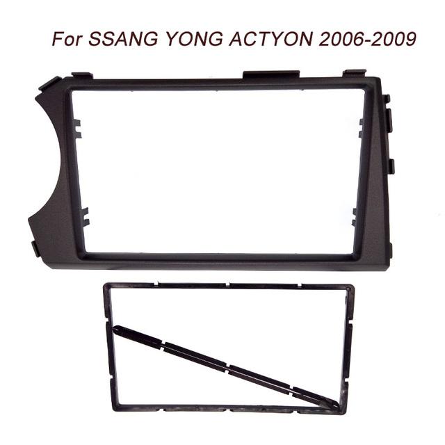 Navio livre da Qualidade Superior 2DIN Fascia Rádio para SSANG YONG Actyon (LHD) Facia CD Traço Instalação montagem Kit Guarnição facia painel quadro