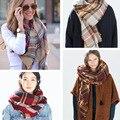 Za Inverno 2015 Lenço Da Manta de Tartan Cachecol Famoso Lenço Verde Mulheres Designer De Inverno Básico Unisex Xales das Mulheres Tamanho Grande lenços