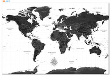 Modern Art Black and White World Map Canvas Painting