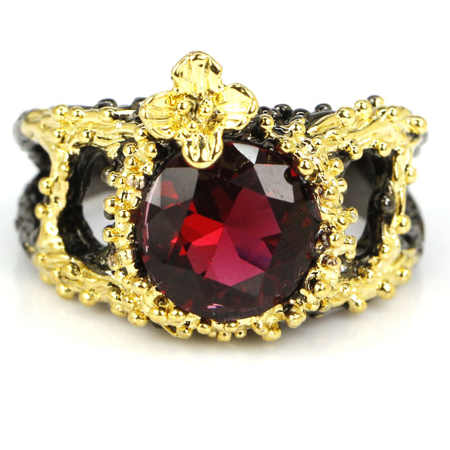 8.0# Vintage Round Pink Raspberry Rhodolite Garnet Womans Wedding Black Gold 925 Silver Ring 17x14mm