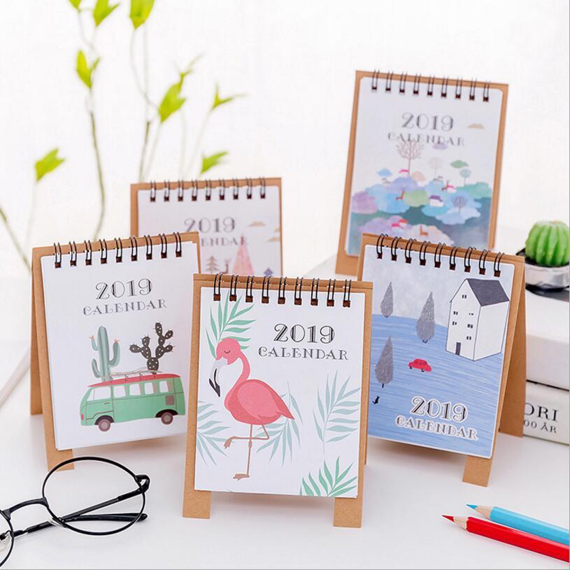 2019 New Cute Cartoon Calendar Creative Desk Vertical Paper Multi-function Storage Box Timetable Plan Notebook Office & School Supplies