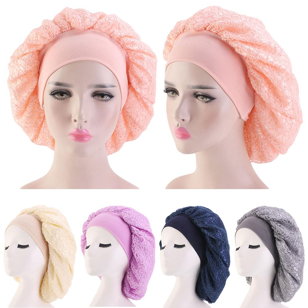 Muslim Women Night Sleep Cap Hair Care Bonnet Hat Head Cover Satin Wide Band Cancer Chemo Cap Elastic Double-deck Beanies Wrap