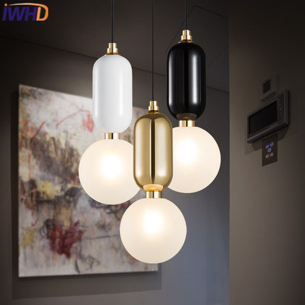 IWHD Nordic Style Iron Moden Hanging Lamp Bedroom LED Pendant Lights Home Lighting Black White Kitchen Restaurant Glass Lampara nordic modern wood glass pendant lights simple art coffee restaurant hanging lamp living bedroom pendant lamp for home lighting