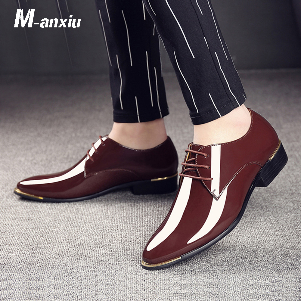 M-anxiu Men luxury Brand Classic Pointed Toe Dress Mens Lace up Patent Leather Black Wedding Oxford Formal Shoes Big Size 2017 men s cow leather shoes patent leather dress office wedding party shoes basic style pointed toe lace up eu38 44 size