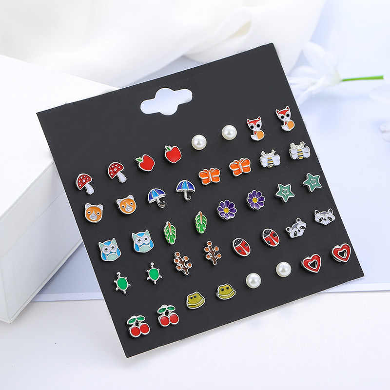 20 Pairs/set Cute Fruit Insect Animal Stud Earrings Set For Women Girls Kids Jewelry Fashion Bear Cherry Flower Enamel Earring