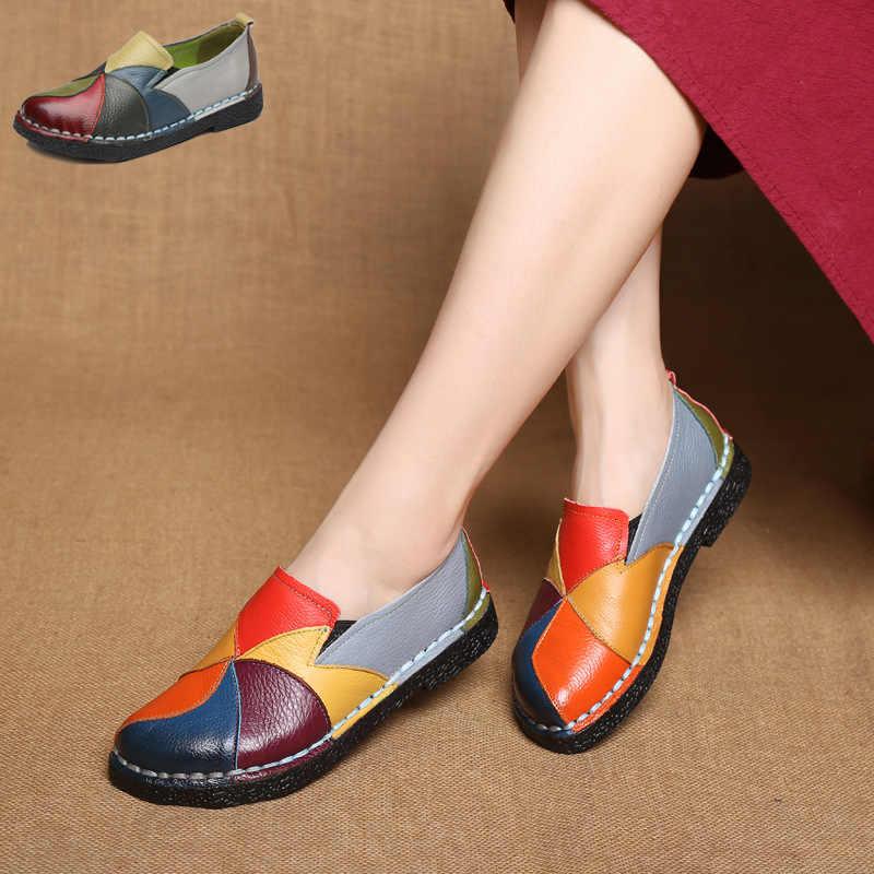 Dongnanfeng das senhoras femininas sapatos femininos apartamentos mãe sapatos vaca mocassins de couro genuíno bailarina colorido não deslizamento em zapatillas mujer ballet designer mocassin femme deslizamento-em cores misturadas mais tamanho 35-42 OL-2098