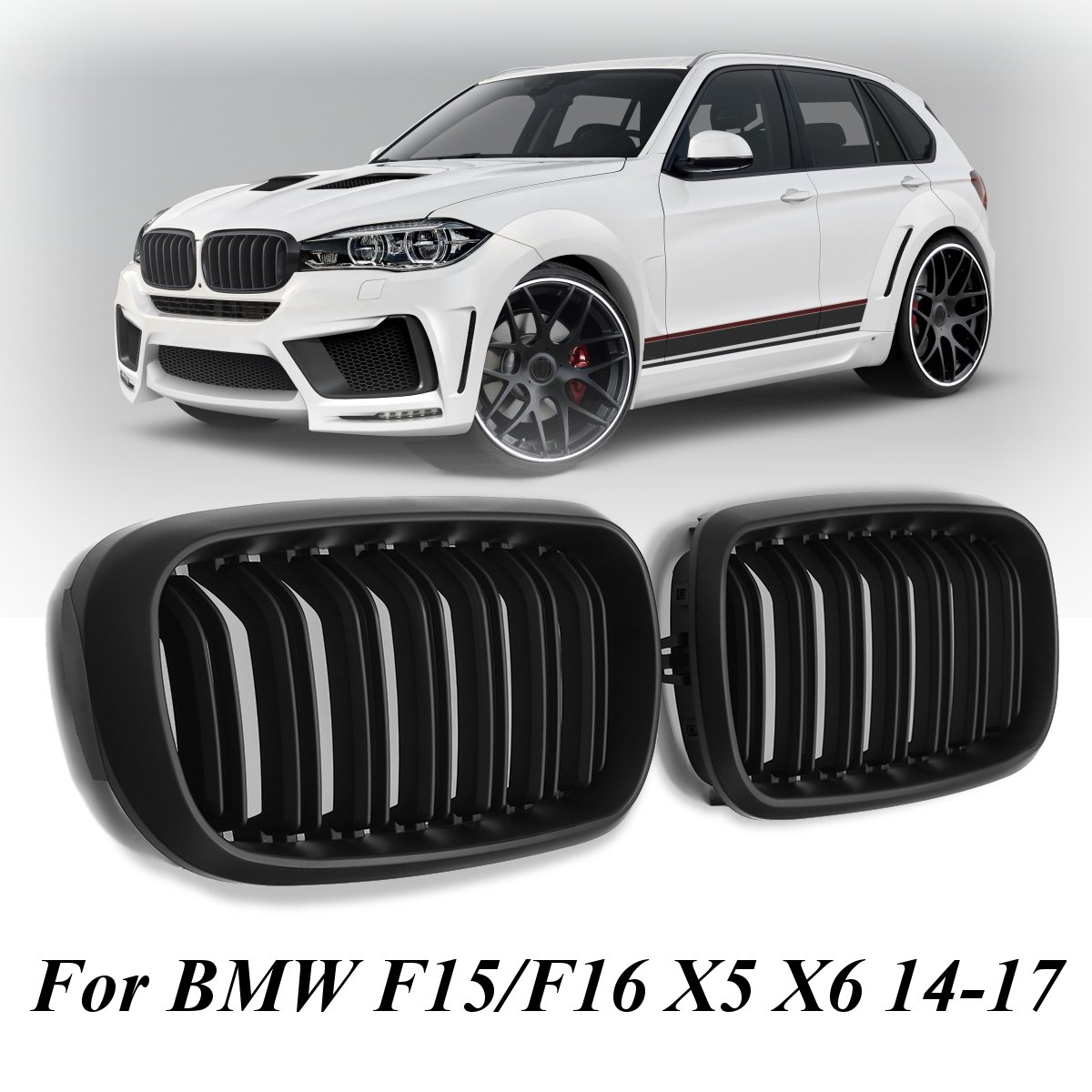 Pair New Matte Black Double Slat Line Front Kidney Grill Grille For BMW F15/F16 X5 X6 2014 2015 2016 2017 pair gloss matt black m color front kidney racing bumper grille grill for bmw x5 f15 x6 f16 x5m f85 x6m f86 2014 2015 2016 2017