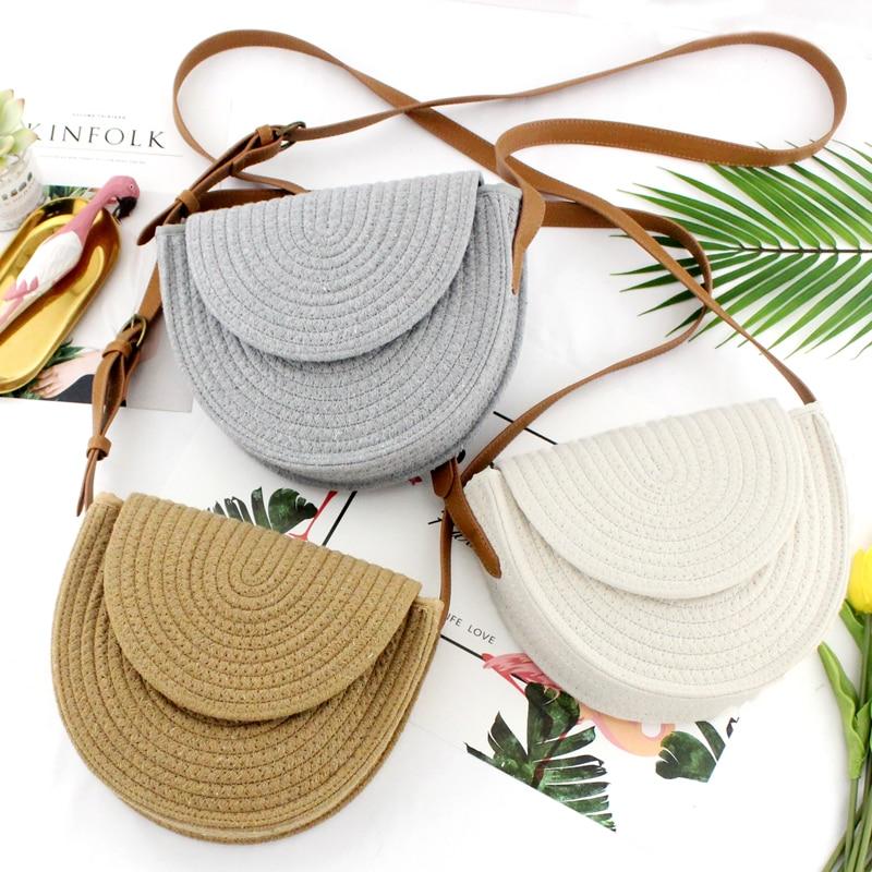 Girl Woven Clamshell Bag Compact Casual Shoulder Straw Bag Messenger Woven Fashion Handbag
