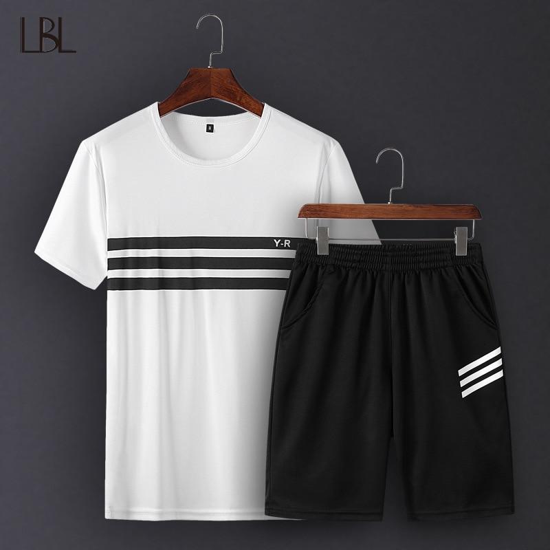 Summer New Mens Shorts Sets Casual Sweat Suits Sportswear Mens Tracksuit Streetwear Set Short Sweatshirt Men Brand Clothing 4XL