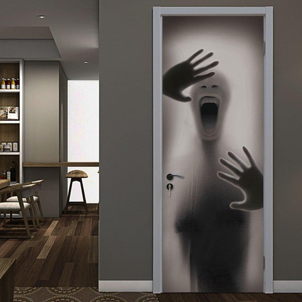 Figure Behind Glass Door Halloween Decorations Door Stickers