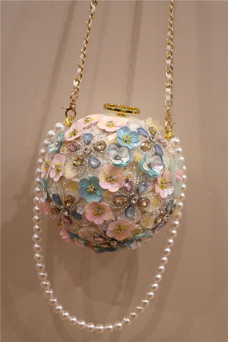 Neue Frühjahr 2009 Chaozhou Mädchen Handgemachte Blume intarsien Diamant Einzelnen Schulter Hand gehalten Geneigt Perle Ball Runde Tasche - 6
