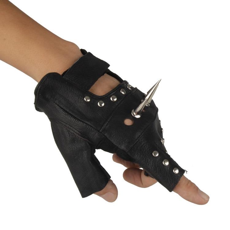 Для мужчин и Для женщин Искусственная кожа с открытыми пальцами в байкерском стиле из ПУ искусственной кожи перчатка в заклепках рок, хип-хоп, готика, варежки для певицы для сцены черное запястья перчатки - Цвет: Only Left Hand