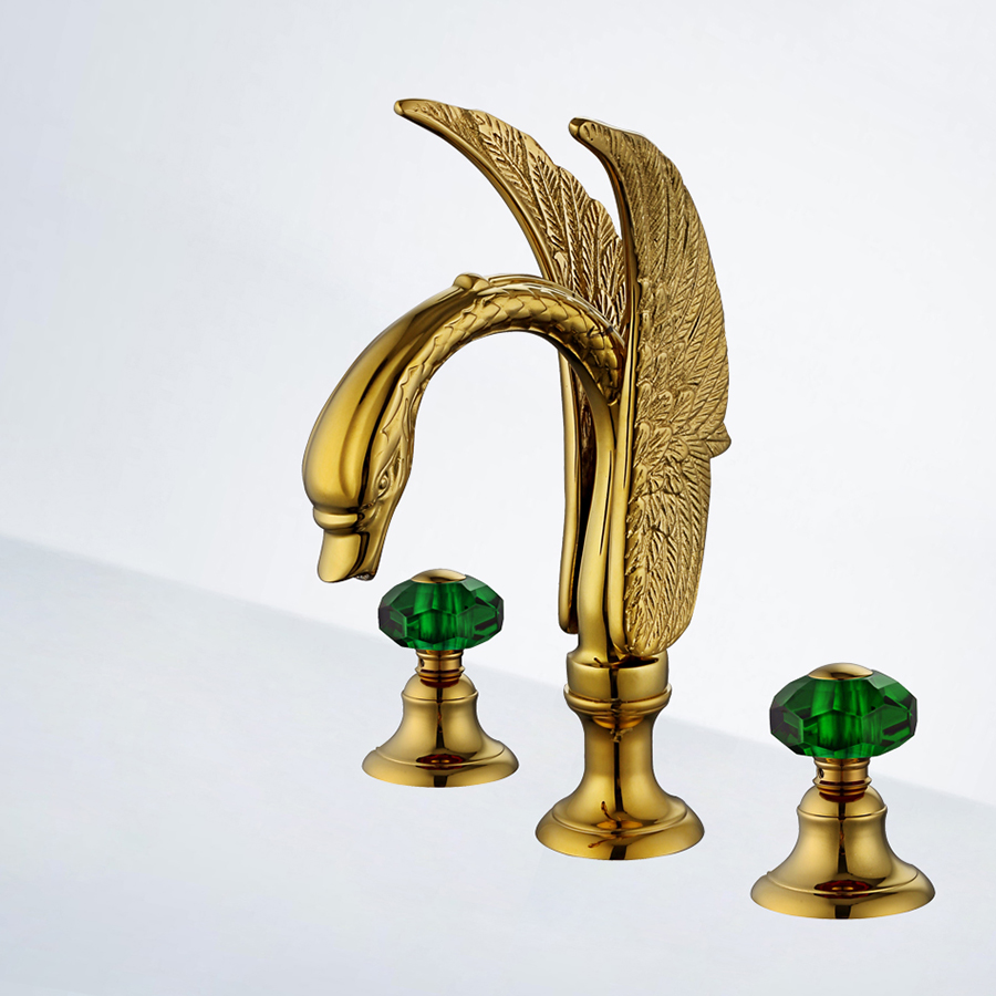 Bathroom 3 Pcs widespread Lavatory Sink faucet Crystal handle Mixer tap Gold Pvd