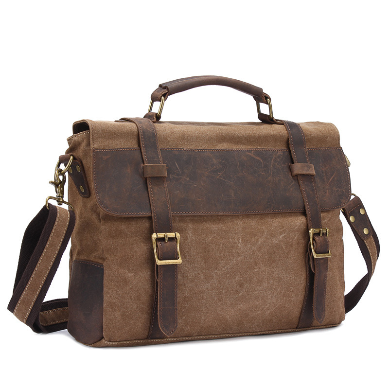 2016 Time-limited New Arrival Vintage Crossbody Bag Military Canvas Crazy Horse Leather Men Messenger Handbag Tote Briefcase