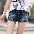 summer new denim shorts female Korean Slim thin curling wild casual hole jeans women
