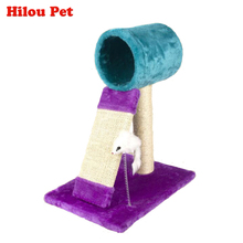 Comfortable Cat Climbing Toys Natural Sisal Scratching post Board Claws Grinding Short Plush Pet Tunnel