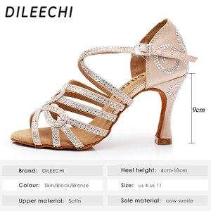 Image 2 - DILEECHI Latin Dance รองเท้าคู่ Rhinestone Shining ผิวซาตินสีดำผู้หญิงบอลรูมเต้นรำรองเท้าคิวบา heel 9 ซม.ใหม่