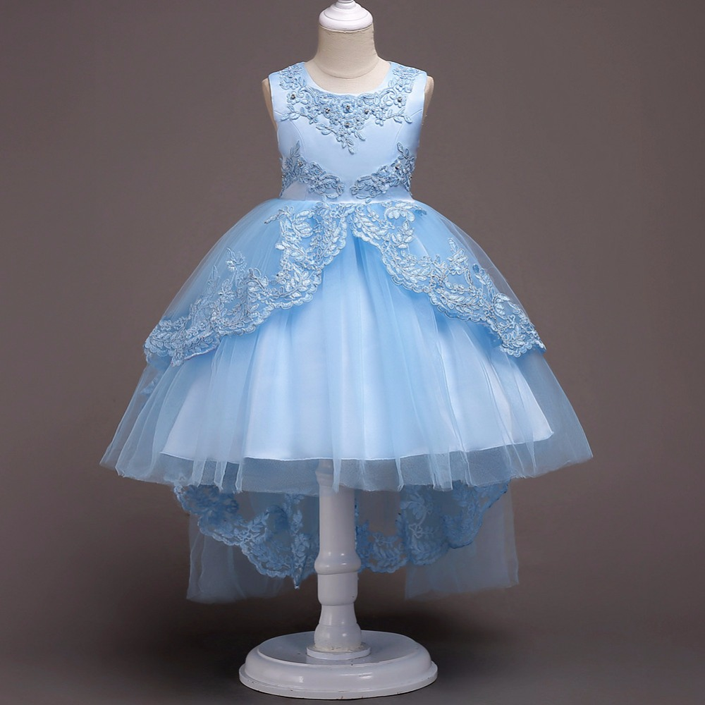 Light Blue Tulle Ball Gown Short   Flower     Girl     Dresses   2019 High Quality Sleeveless High Low White First Communion   Dress   In Stock