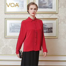 VOA The color red silk shirt single breasted female 2017 spring ladies loose long sleeved blouses B6298