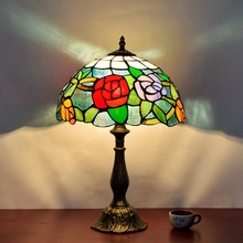 Vintage Retro rose Stained Glass Lampshade Tiffany Table Lamp Country Style Bedside Lamp E27 110-240V