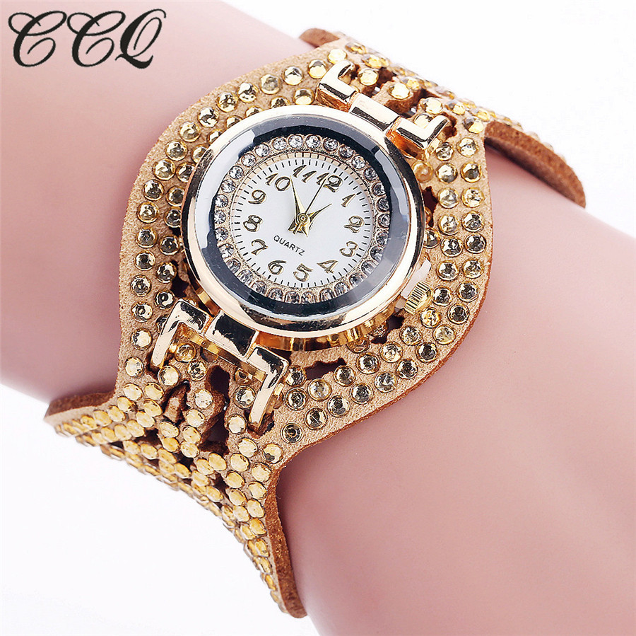 CCQ Fashion Full Crystal Leather Bracelet Watch Women Wristwatch Casual Quartz Wrist Watches Drop Shipping 2085 hot unique women watches crystal leather bracelet quartz wrist watch mujer relojes horloge femmes relogio drop shipping f25