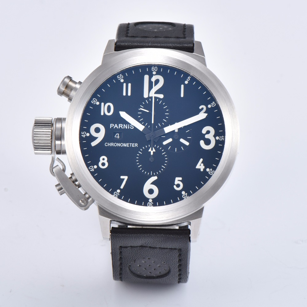 Parnis  50mm brushed solid 316L stainless steel mens watch quartz movement blue dial movement Leather strap A1-04Parnis  50mm brushed solid 316L stainless steel mens watch quartz movement blue dial movement Leather strap A1-04