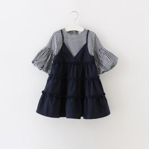 Kids girls dress Korean dress Plaid false two Princess Dress sleeve splicing 16 autumn paragraph