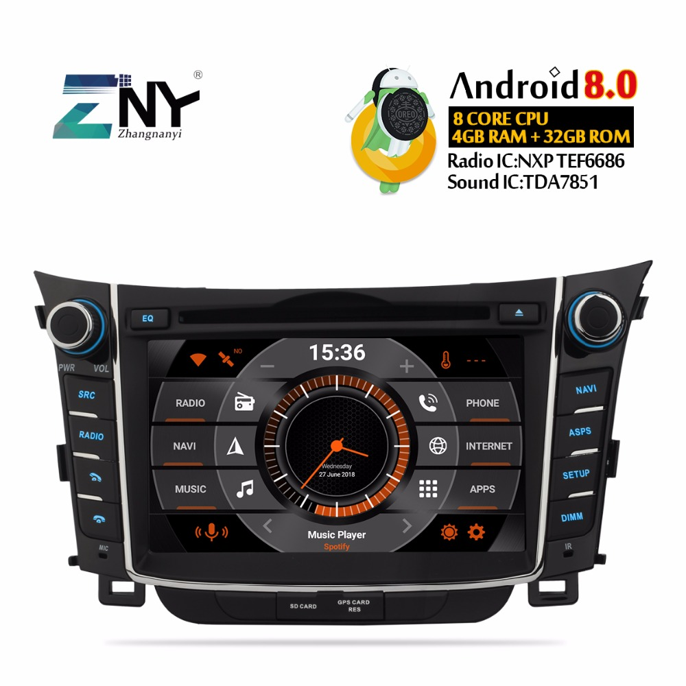 7 HD Android 8.0 dvd de voiture Pour Hyundai I30 Elantra GT 2012 2013 2014 2015 2016 auto-radio FM GPS WiFi audio Vidéo caméra de recul
