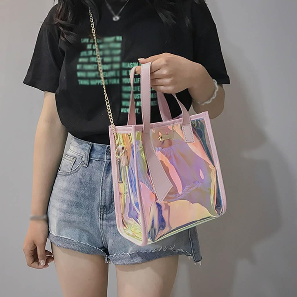 Transparent Handbag Chain-Shoulder-Bag Laser-Messenger-Bags Jelly-Rainbow-Hologram Holographic