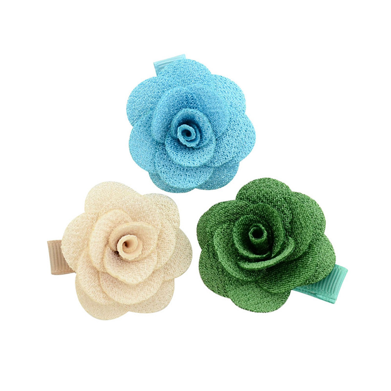 14pcs Artificial Flower Ribbon Wrapped Hairclips Women Hairpins Small Handmade Camellia Rose Hair Clip Girls Hair Accessories
