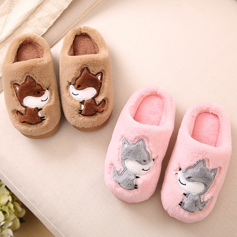 Child Cotton-Padded Home Shoes Winter Slippers Girls Shoes With Bow Indoor Cartoon Slip-Resistant Slippers Thermal Casual Shoes