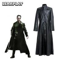 Матрица Нео пальто костюмы для косплея длинные черные кожаные тренчи