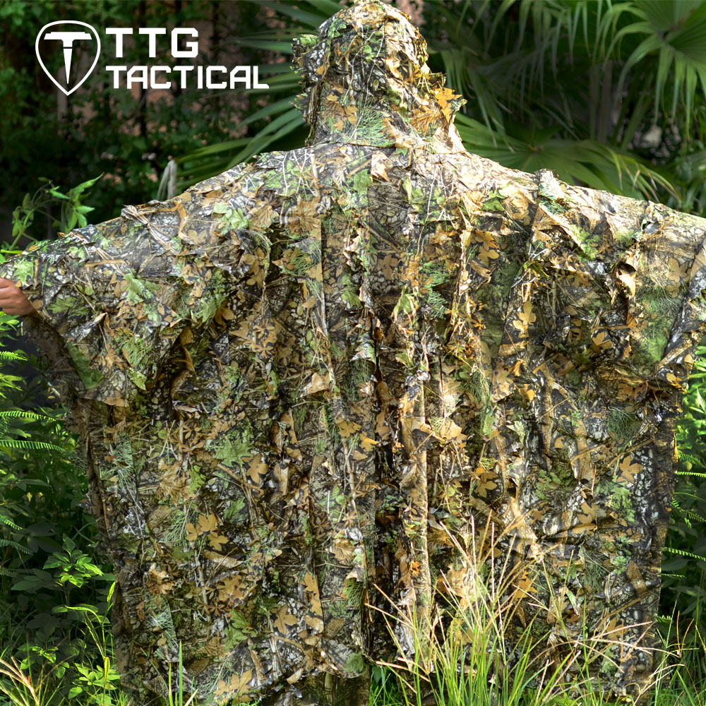 ФОТО TTGTACTICAL Ultralight 3D Leaf Breathable Ghillie Poncho Voice Silent Hunting Sniper Airsoft CS Tactical Ghillie Suit Woodland