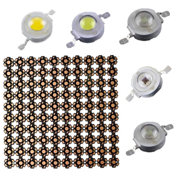 100PCS/LOT LED 1W 3W 35mli 45mli Chips PCB 20mm Hight Power Bulb SMD Lamp Light White Blue Red Green Yellow Pink Led Light Beads