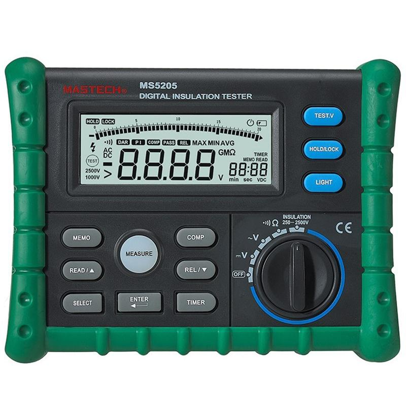 MASTECH MS5205 Digital Megger Insulation Tester Resistance Meter Tecrep 10G 2500V Multimeter Voltage Detector 2017 mastech ms5202 digital analogue dual display pointer megger megometro insulation resistance tester max to 2500v 100000 mohm