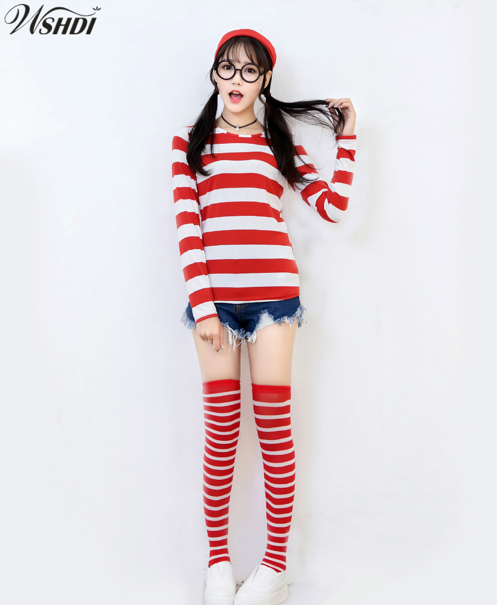 Analytical Where's Wally Waldo Tv Cartoon Stag Night Outfit Adult Womens Fancy Dress Costumes Halloween Shirt +hat +glasses +stockings