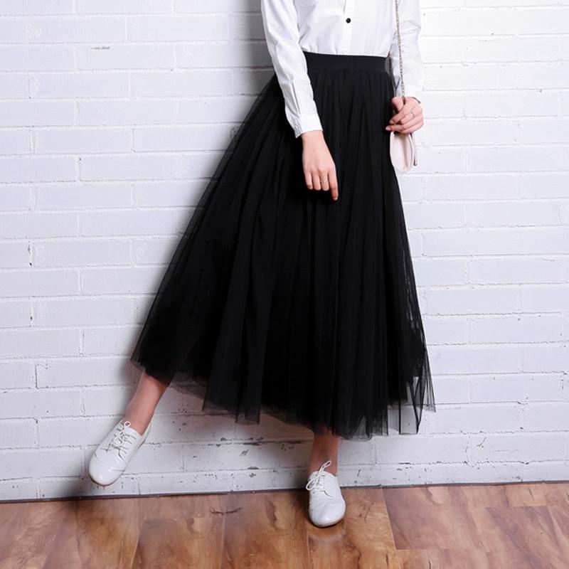 OHRYIYIE 2019 Autumn Winter Vintage Skirts Womens Elastic High Waist Tulle Mesh Skirt Long Pleated Tutu
