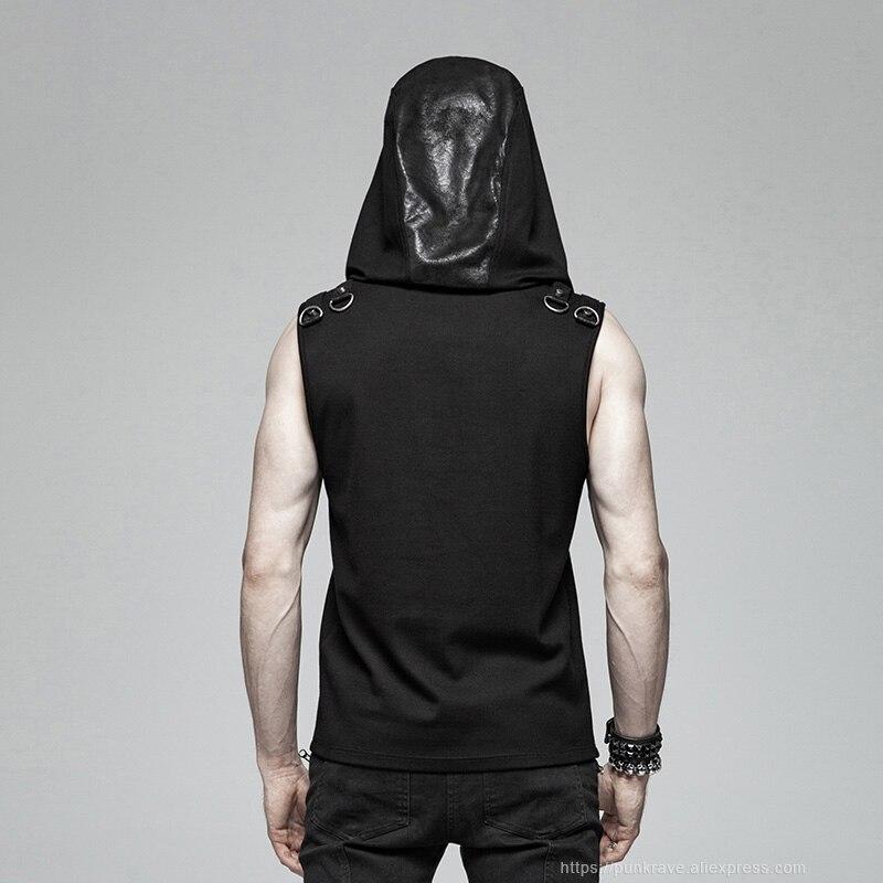 PUNK RAVE negro gótico misterioso sudadera sin mangas moda Punk Rock hombres camiseta personalidad asnual Cool camisetas divertidas camisetas - 3