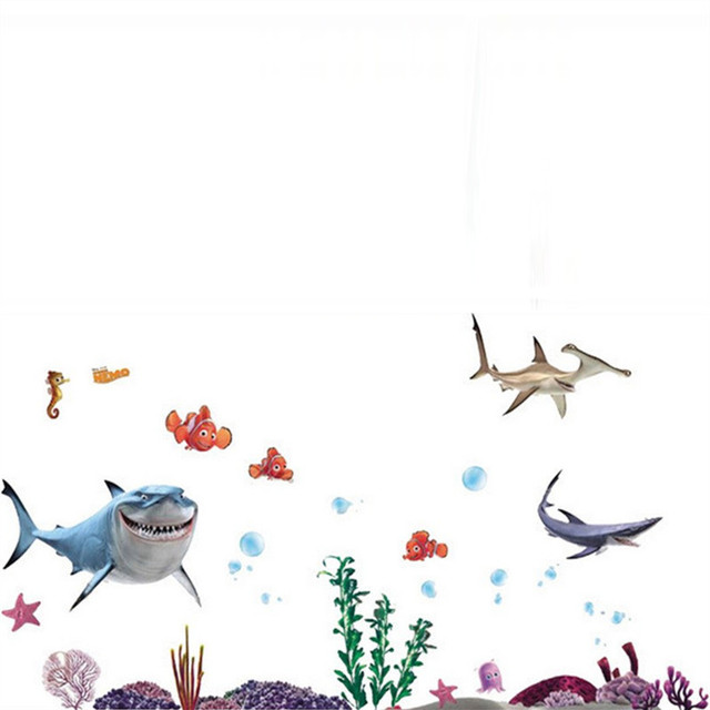 Nemo Anime Posters Seabed Fish Shark 3d Vinyl Wall Stickers Home Kitchen Bathroom Kids Room Decoration