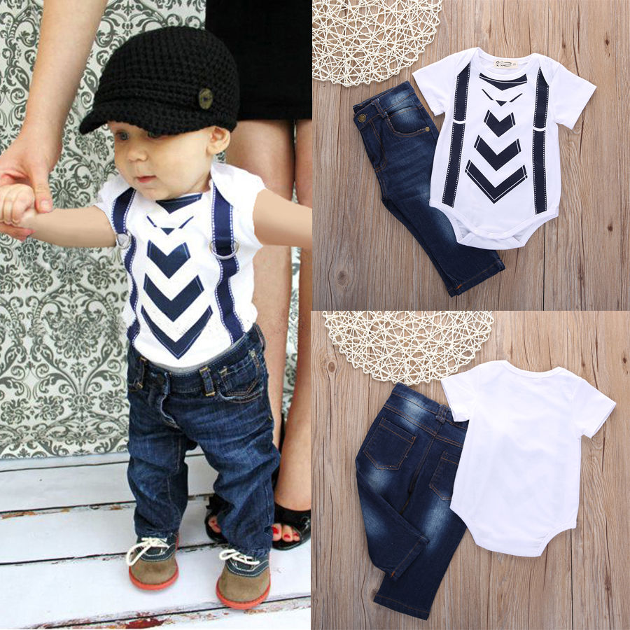 2016 Hot Newborn Infant Baby Boy Girl Kids Jeans Belt Party Clothes T shirt  Top Pants Sets Outfit,in Clothing Sets from Mother \u0026 Kids on Aliexpress.com