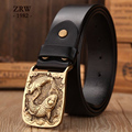 2017 casual west belt buckle for men full grain leather belts mens high quality girdle size 120 cm jeans luxury solid brass carp