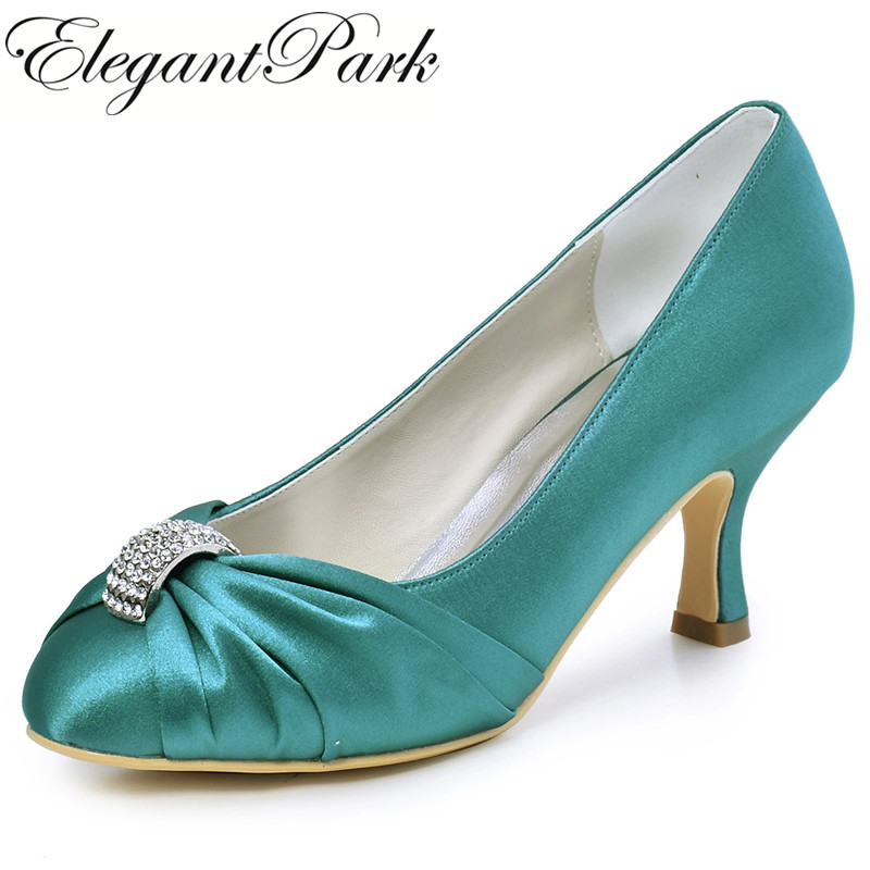 цена на Woman Shoes Wedding Bridal High Heel Teal Close Toe Rhinestone Satin Bride Bridesmaid Lady Evening Dress Pumps Navy Blue HC1526
