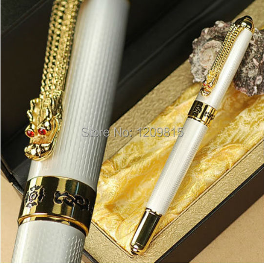 JINHAO 1000 Luxury Golden Dragon Clip and White Barrel Roller Ball Pen Stationery Office Business Writing Gift Pens black jinhao ballpoint pen and pen bag school office stationery brand roller ball pens men women business gift send a refill 013