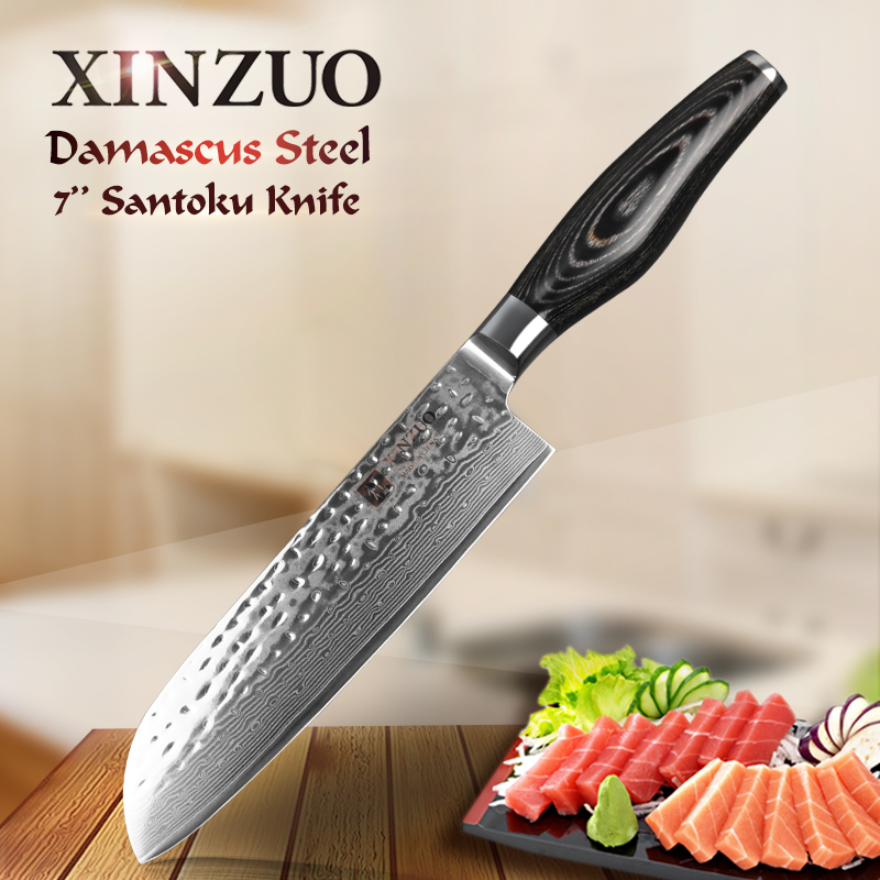 xinzuo 73 layers 7 inch santoku knife japanese damascus kitchen knife japanese chef knife with. Black Bedroom Furniture Sets. Home Design Ideas