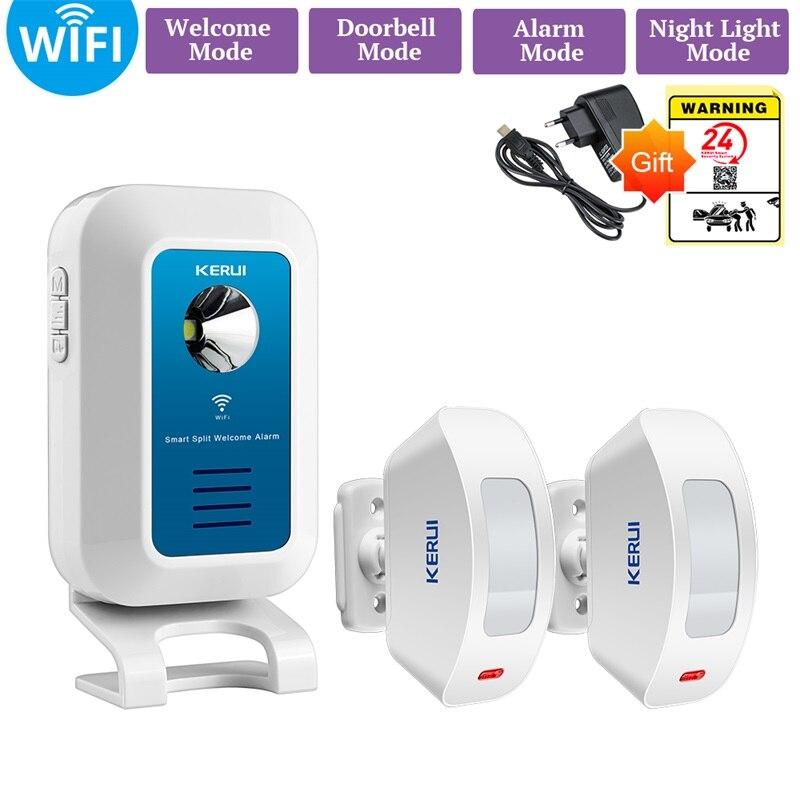 KERUI sistema de alarma WIFI timbre inalámbrico APP Control 32 tonos bienvenido/timbre/reloj/noche anfitrión y personas estadístico de flujo